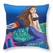 Blonde Mermaid With Purple Tail Throw Pillow