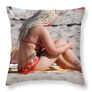 Blondie Braids Throw Pillow