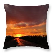 Blood And Gold In The Road Sunset At Portmahon Delaware Throw Pillow