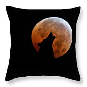 Blood Full Moon And The Wolf Throw Pillow