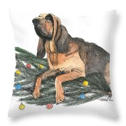 Blood Hound Christmas Throw Pillow