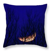 Blood Moon And Winter Trees Throw Pillow