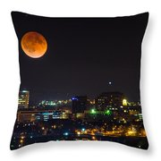 Blood Moon Over Downtown Throw Pillow