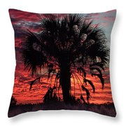 Blood Red Sunset Palm Throw Pillow