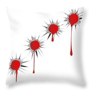 Blooded Bullet Holes Throw Pillow