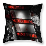 Bloody Knife Wrapped In Red Crime Scene Ribbon Throw Pillow
