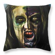Bloody Zombie Nurse Screaming Out In Insanity Throw Pillow