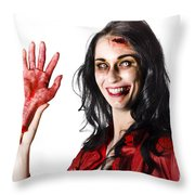 Bloody Zombie Woman With Severed Hand Throw Pillow