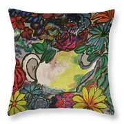 Blooing Pot Throw Pillow