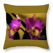 Blooming Cattleya Orchids Throw Pillow