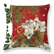 Blooming Christmas II Throw Pillow