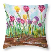 Blooming Colors Throw Pillow