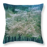 Blooming Cool Blue  Throw Pillow