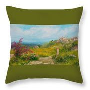 Blooming Country Road - Italy Throw Pillow
