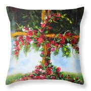 Blooming Cross Throw Pillow