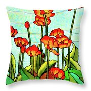 Blooming Flowers Throw Pillow by Farah Faizal