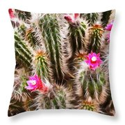 Blooming Hedgehog Cactus Throw Pillow
