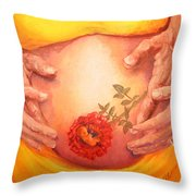 Blooming In The Womb Throw Pillow