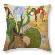 Blooming Orchids In The Vase Throw Pillow