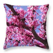Blooming Red Buds Throw Pillow