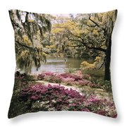 Blooming Shrubs And Trees Throw Pillow