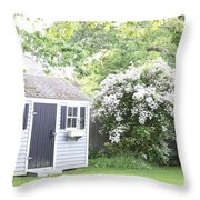 Blooming Tree Next To Shed Throw Pillow