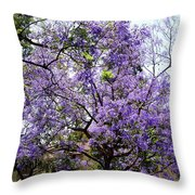 Blooming Tree With Purple Flowers Throw Pillow