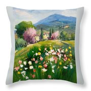 Blooming Tuscany Landscape Throw Pillow