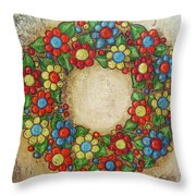 Blooming Wreath Throw Pillow
