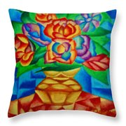 Blooms In Blue Throw Pillow