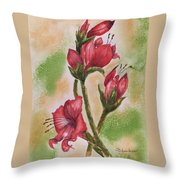 Blooms 'n Red Throw Pillow
