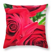 Blooms Of Red Throw Pillow