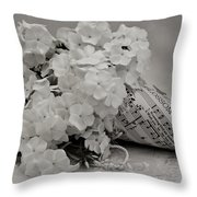Blossom And The Bee Cornucopia  Throw Pillow