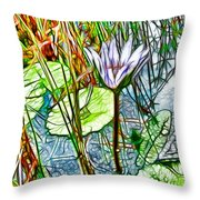 Blossom Lotus Flower In Pond Throw Pillow