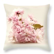 Blossoming Cherry Twig Throw Pillow