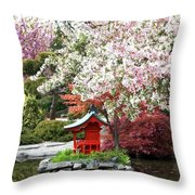 Blossoms Abound In The Japanese Garden Throw Pillow