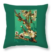 Blossoms Against Green Throw Pillow
