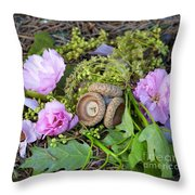 Blossoms And Acorn Throw Pillow