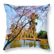 Blossoms And Spanish Moss Throw Pillow