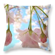 Blossoms Art Prints 52 Pink Tree Blossoms Nature Art Blue Sky Throw Pillow