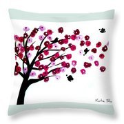 Blowing Blossoms Throw Pillow