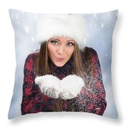 Blowing Snow In Winter Throw Pillow