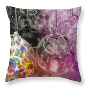 Blown Glass Ornaments Throw Pillow