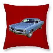 Blue 1966 Pointiac Lemans Throw Pillow