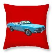 Blue 1971 Oldsmobile Cutlass Supreme Convertible Throw Pillow