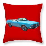 Blue 1971 Oldsmobile Cutlass Supreme Convertible Throw Pillow