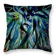 Blue Abstract Art Lorx Throw Pillow