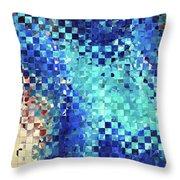 Blue Abstract Art - Pieces 2 - Sharon Cummings Throw Pillow