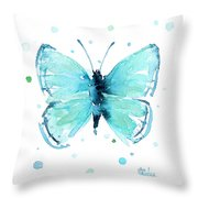 Blue Abstract Butterfly Throw Pillow