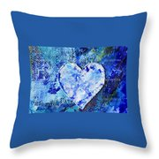 Blue Abstract Painting With Heart Throw Pillow